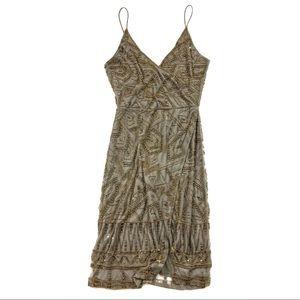 New Majorelle Hollyhock Beaded Wrap Front Dress